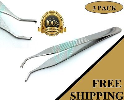 Pack Of 3 Pcs Adson Tissue Thumb Forceps 4.75 12cm 1x2 Teeth Curved Angled