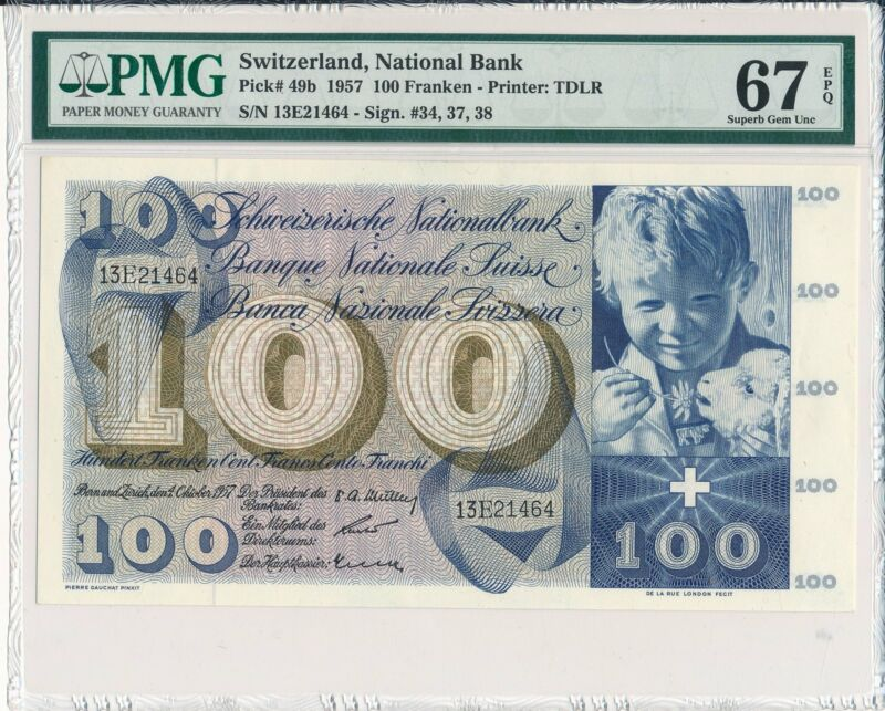National Bank Switzerland  100 Franken 1957 Rare PMG  67EPQ