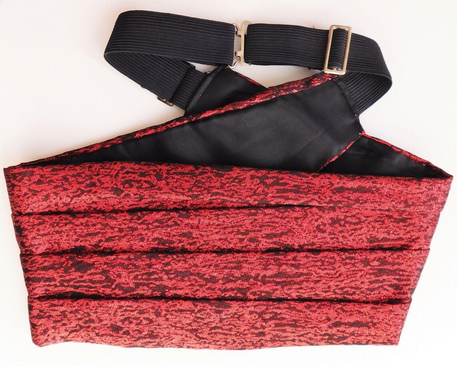 Vintage 1970s Akco cummerbund glam rock glittery red evening tuxedo dress wear