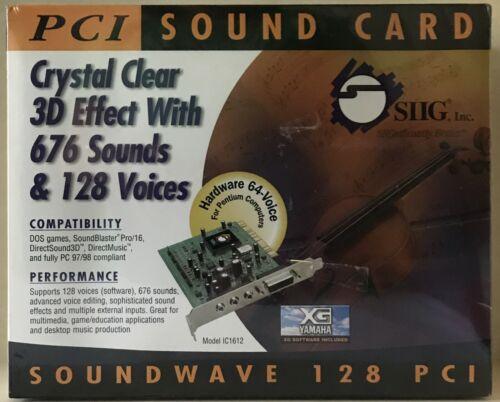 SIIG Inc. Sound Card Soundwave 128 PCI Model IC1612 NIB Seal