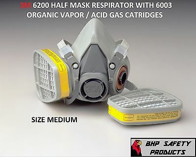 3M 6200 HALF MASK RESPIRATOR W/ ORGANIC VAPOR / ACID GAS CARTRIDGE MEDIUM 6003