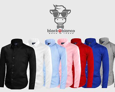 Black n Bianco Boys' Signature Sateen Button Down Long Sleeve Dress Shirt ()
