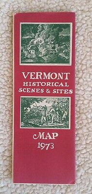 1973 Vermont VT Map Historical Scenes & Sites by David Maunsell