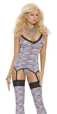 Zebra Animal Print Camisette Cami Garter G-String Stockings Lingerie Set (Cami Garter G-string)