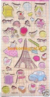 LAST Love Travel Paris Vinyl Sticker France Eiffel Bread Cake Flower Bird JAPAN