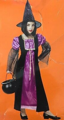 NEW! Sparkle Witch - Girls Witch Dress & Hat - Sorceress Halloween Costume - SM (Girls Witch Hat)