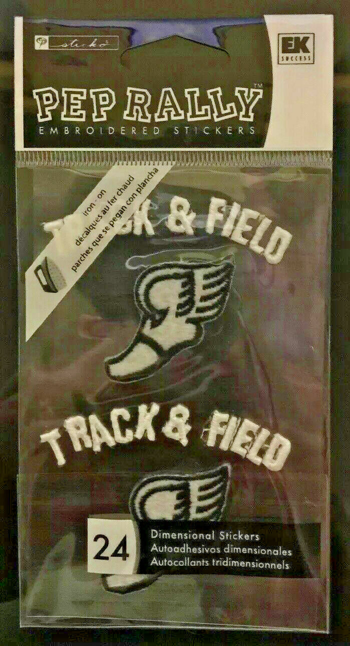 Sticko Pep Rally Embroidered Stickers Iron-On Track Field Iron-On Black White - $4.99