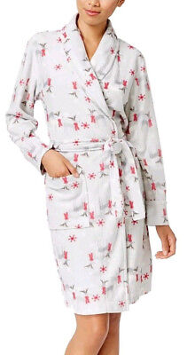 Charter Club Printed Short Robe, Fleece Oh Deer Grey, Size XL  MSRP $49.5