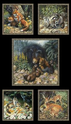 Woodland Families Bear Fox Animals Cotton Fabric Elizabeths Studio 24