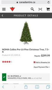 Pre-Lit Pine Christmas Tree 7.5 ft by NOMA Collins