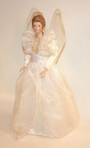 "Christmas Angel Tree Topper 12.5"" Lace Wing White Satin Pearl Halo Sequin 12 1/2"