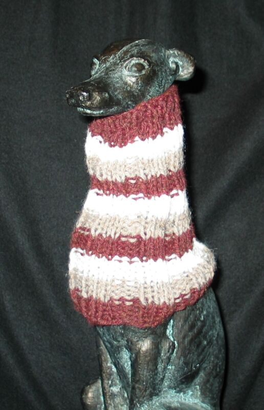 Brown White Stripe Italian Greyhound Dog Snood 2 wear w/ dog coat *100% Donation
