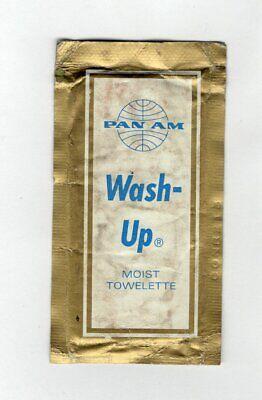 VINTAGE PAN AM AIRLINES WASH UP MOIST TOWLETTE Unused Unopen ()