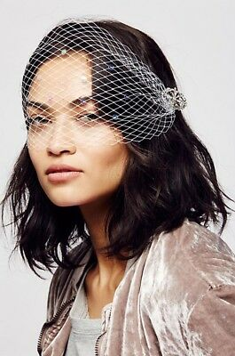 NWT Free People White Sequin Birdcage Veil