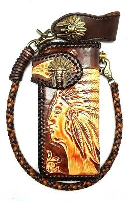 Biker Chain Wallet motorcycle trucker  tribal chief horn tooled engraved Leather for sale  Shipping to India