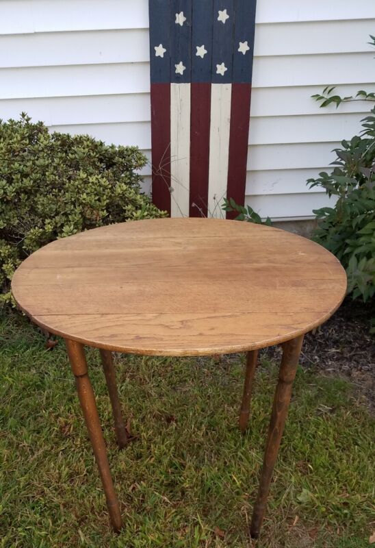Vintage Antique Lewiston Maine Hand Sewing Industrial Wood Stand Folding Table