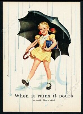 1952 Morton's Salt classic girl with umbrella art vintage print ad