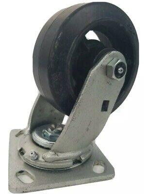 5 X 2 Heavy Duty Rubber On Cast Iron Caster Wheels Swivel W3 Grease Fittings