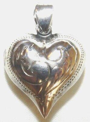 Fancy Puffed Heart - Silver ENGRAVED Puffed Heart  Pendant 925 26mm 1 Inch Fancy Charm