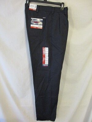 IZOD 100% Cotton Solid Navy Double Pleat Classic American Chino SR$50 NEW