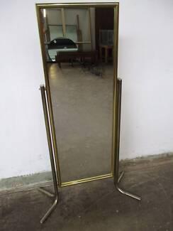 B33032 Vintage RETRO Brass Gold Tone Floor Cheval Mirror Mount Barker Mount Barker Area Preview