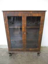 B33027 Vintage Walnut ART DECO China Cabinet w/ Metal Claw Feet Unley Unley Area Preview
