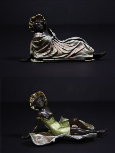 Bronze Statue, Woman with opened dress - Polychrome, Cold Painted