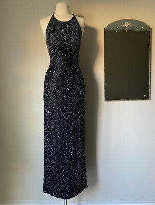 80s Dresses | Casual to Party Dresses Vintage 1980s Cache beaded gown Black Maxi Formal Halter Dress S $25.00 AT vintagedancer.com