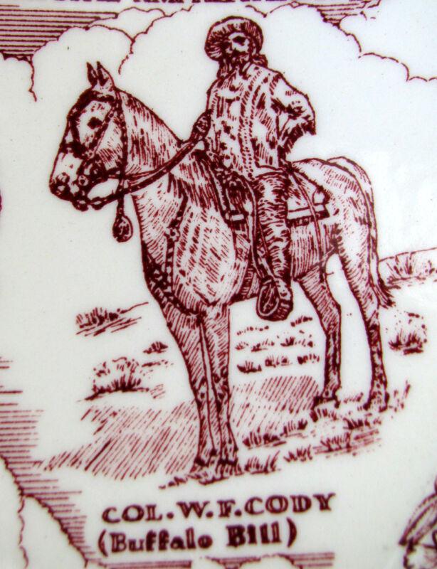 Vintage COLORADO Denver Buffalo Bill Red Rock*Vernon Kilns Maroon Plate
