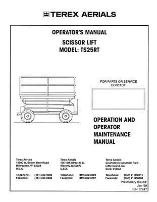 New Terex Aerials Scissor Lift Ts25rt Operators Operation Maintenance Manual