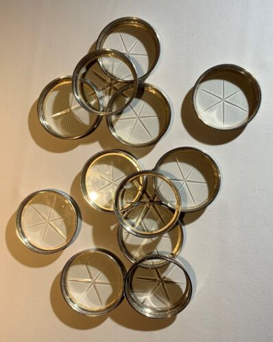 BIRKS STERLING Silver Glass Bottom COASTERS Embossed Anthemion Design Qty 12