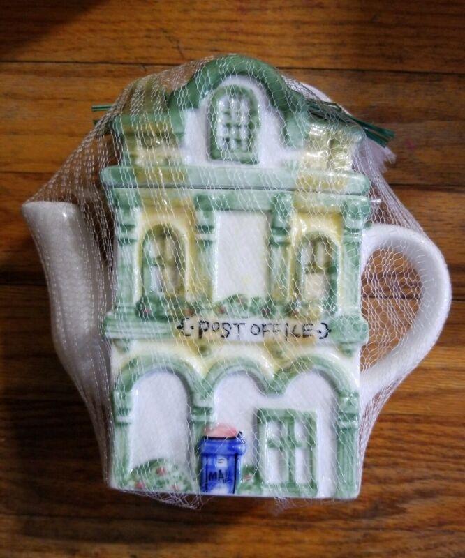 "Vintage Collectible Ceramic Cookie Jar / Teapot  -Town Post Office Building 9"""