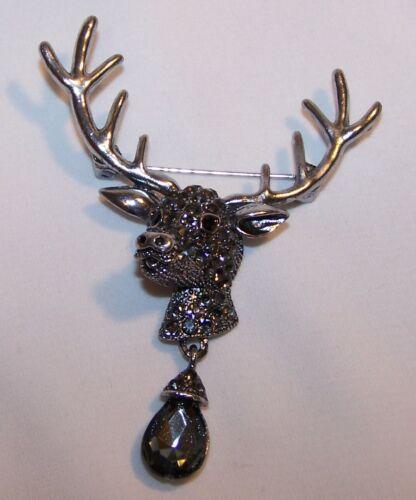 Vintage Reindeer Christmas Pin Brooch-Dangle Stn-Dark Rhinestone-Estate Jewelry