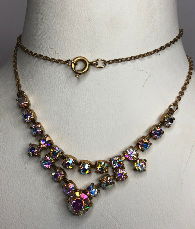 1950s Glass Necklace Bib Style Aurora Borealis Vintage Jewellery Jewelry Retro