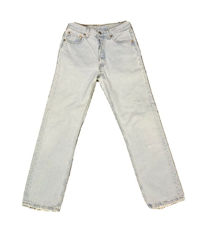 VTG Levis 501 Button Fly Distressed Jeans Size 25 X 30 Made USA