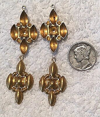 VINTAGE  DROPS SETTINGS BRASS STAMPINGS FINDINGS WITH RING 10 PCS