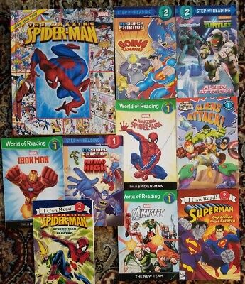 10 Superheroes Level 1& 2  I Can Read & Step into reading & 1 look and find bk