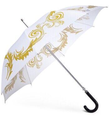 VERSACE Parfums white gold medusa head logo umbrella NEW