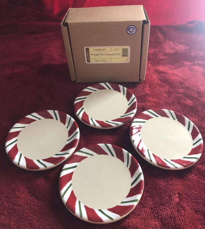 Longaberger Pottery Peppermint Twist Coasters #31875 - Set Of 4 - NEW In Box