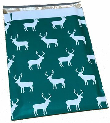 200 10x13 Green Reindeer Christmas Smilemail Poly Mailers Shipping Envelopes