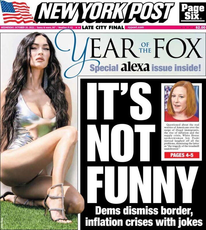 NEW YORK POST-OCT 20, 2021-SPECIAL ALEXA FALL ISSUE INSIDE-YEAR OF THE MEGAN FOX