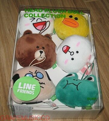 Naver Line Friends Official Goods 6 Character Mini Head Plush Doll Set Sealed