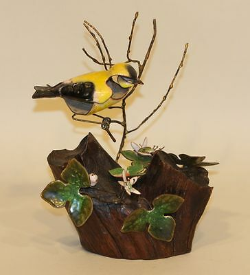 Vintage Brumm Enamel on Copper Driftwood Sculpture Gold Finch with Hepatica