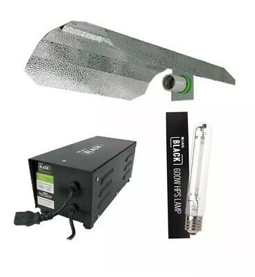 Lumi Black Magnetic Ballast 600w, Veg/flower bulb, Reflector, Hanging Clips