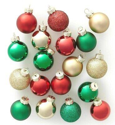 18ct Mini Glas Rund Weihnachten Ornament Gold Grün und Rot - Wondershop