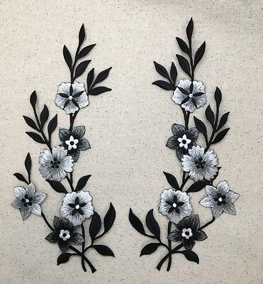 Set 2 - Large Flowers - Black/Silver/White Iron on Applique/Embroidered Patch ()