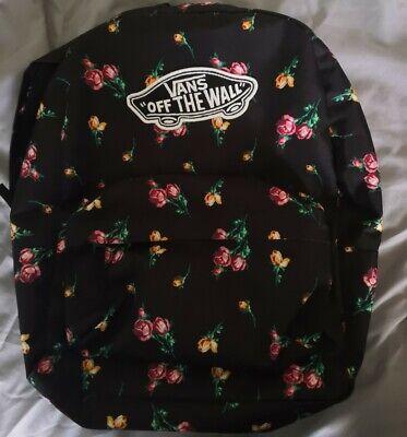 Vans Off The Wall Black Rose Floral Backpack Rucksack