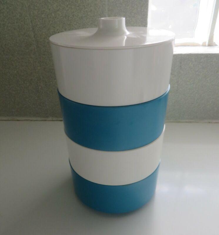 Heller Massimo Veignelli stacking bowls cannister set bowls with lid white blue