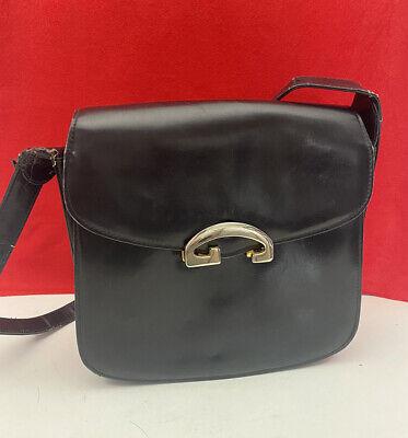 "Vintage 60s GUCCI Black Leather Purse Shoulder Bag Handbag Gold ""G"" Clasp As-Is"
