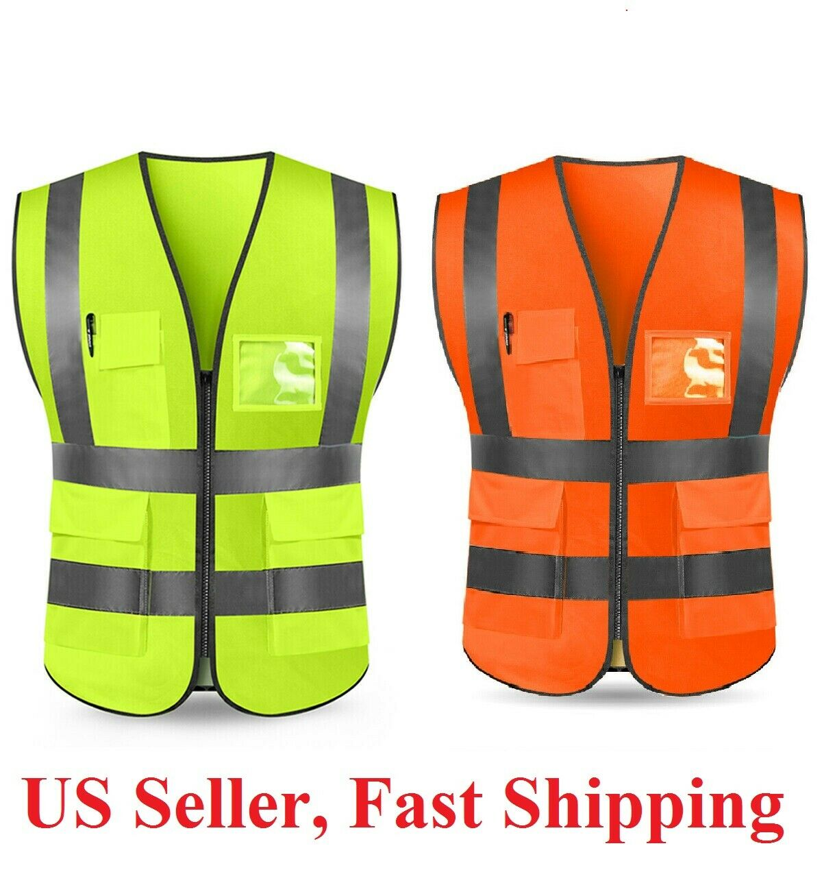 Neon Security Safety Vest High Visibility Reflective Stripes Orange & Yellow NGL Business & Industrial
